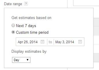 keyword planner jangkauan waktu data